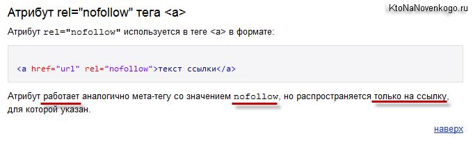 Как работает атрибут rel со значением nofollow в Яндексе