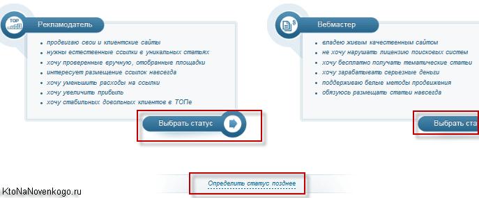 Выбор статуса на бирже статей - рекламодатель или вебмастер