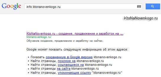 Использование оператора INFO при поиске по сайту
