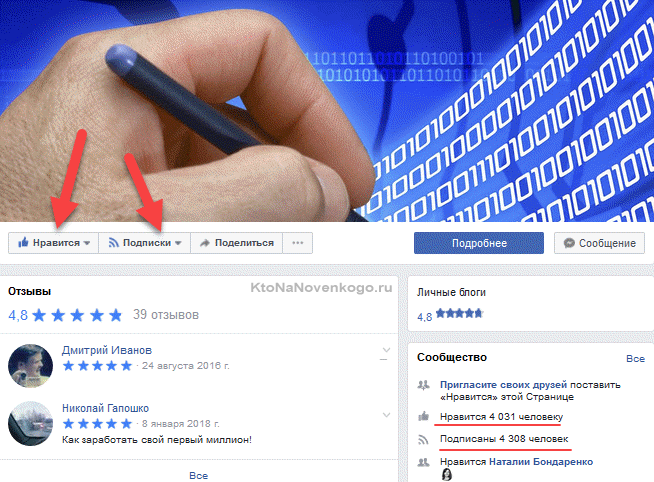 Пример бизнес страницы в Facebook