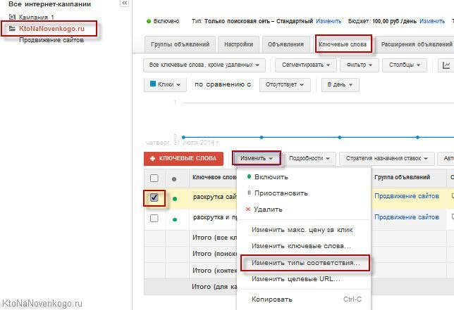 Как изменить тип соответствия ключевых слов в Google AdWords