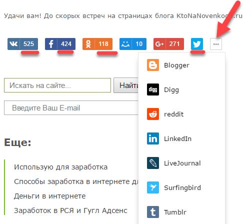 Вид блока Поделиться от Яндекса