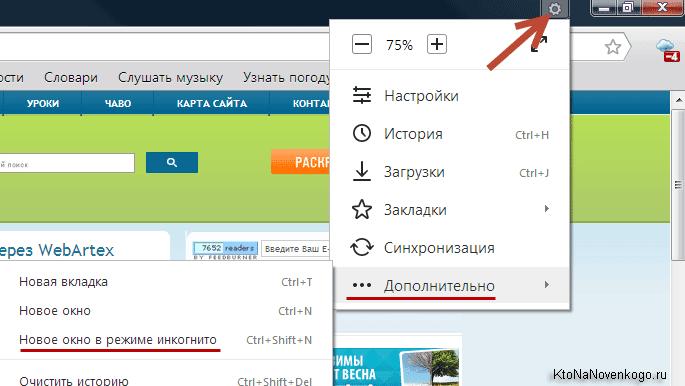 Новое приватное окно в Яндекс Браузере