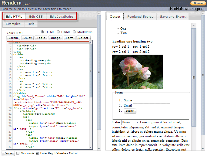 HTML5 онлайн редактор Rendera