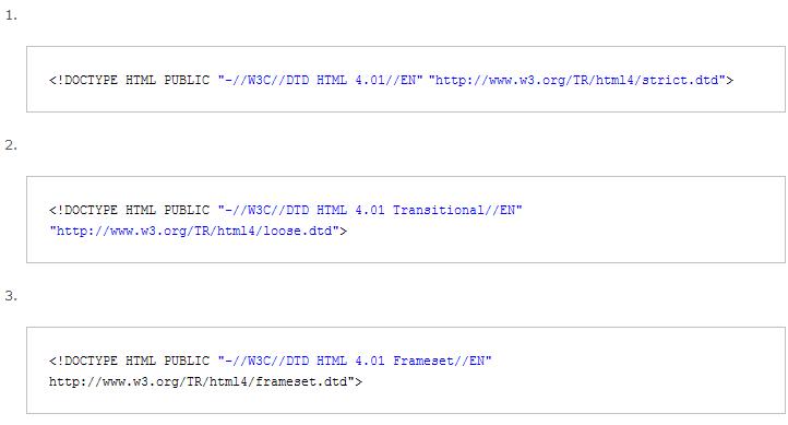 Три варианта DOCTYPE для Html 4.01