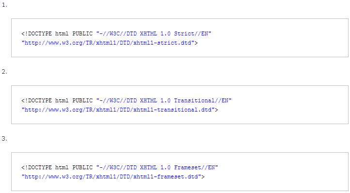 Три варианта Doctype для XHTML