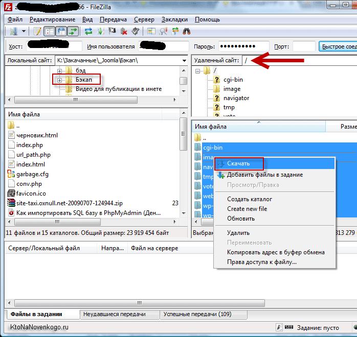 Как сделать бэкап файлов сайта через Файлзилу