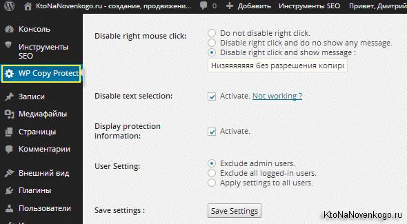 Плагин для Вордпресс WP-CopyProtect. и его настройки