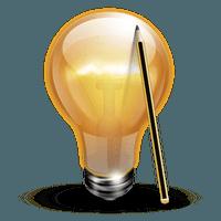 Иконка лампочки и карандаша символизующая идею