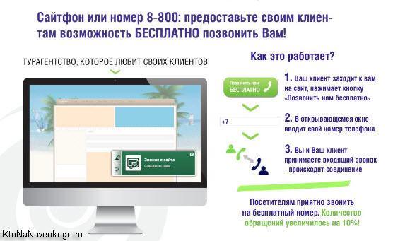 Звонок с сайта или бесплатный номер в Комагик