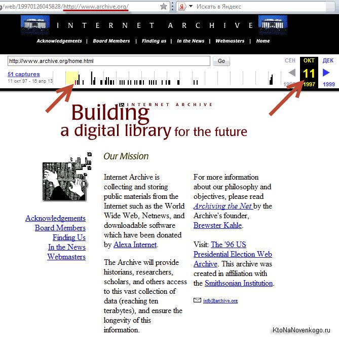 Как выглядел сайт архива Интернета в 1997 году