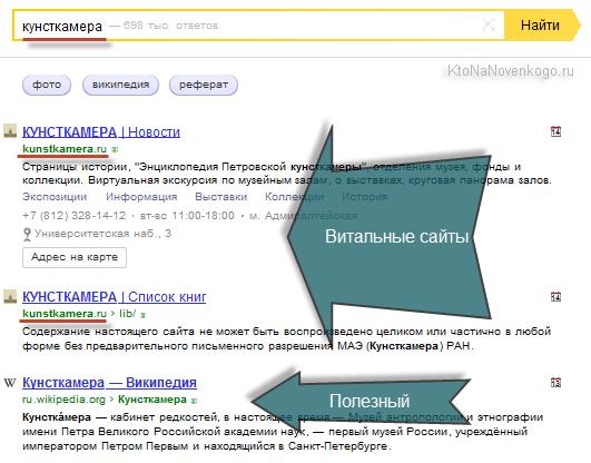 Как выглядят в выдаче Яндекса витальные и полезные сайты