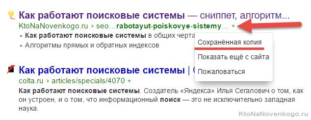 Как найти сохраненную копию в выдаче Яндекса
