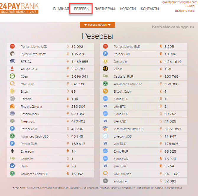 Большие резервы в обменнике 24PayBank