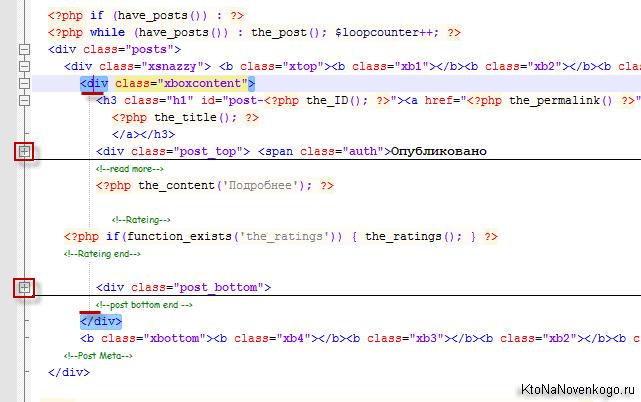 Окно редактора кода Нотепад++