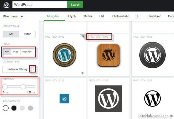 Онлайн сервис IconFinder