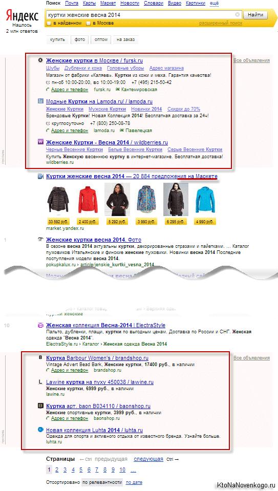 Расположение блоков контекстной рекламы в выдаче Яндекса