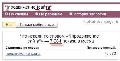 Пример использования оператора в  Wordstat.Yandex.ru