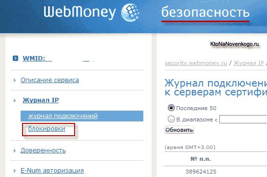 Просмотр журнала подключений и блокировок к Вебмани