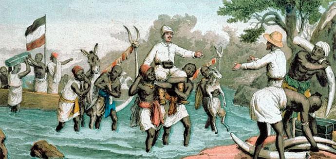 Местные жители африканской колонии несут на руках колонизаторов