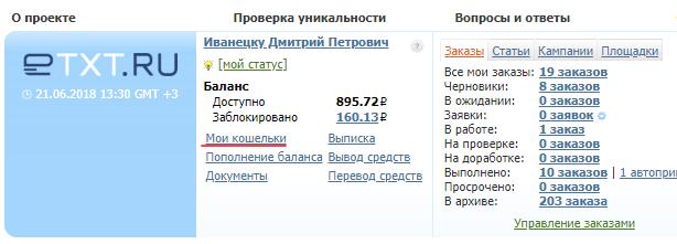 Настойка профиля в Етекст.ру