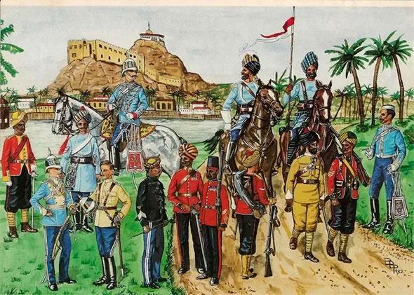 Картина времен колонизации Англией Индии - английские офицеры и местные военные