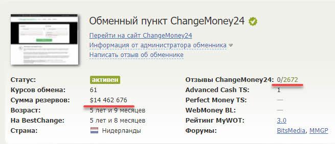 Данные на обменник Changemoney24