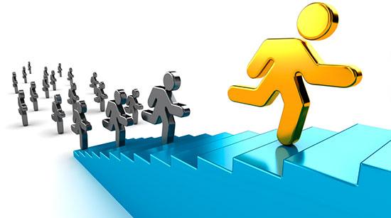Стремление выиграть у конкурентов бегущих за ним лестнице