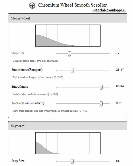 Расширение позволяющее тонко настроить плавную прокрутку страниц в браузере
