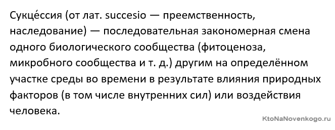 Дайте определение понятию сукцессия