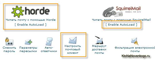 Все инструменты предусмотренные в cPanel для работы с почтой домена