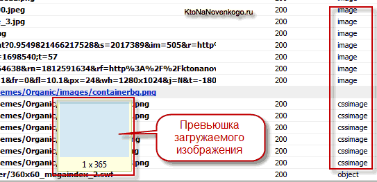 Просмотр подгружаемых вместе со странице изображений