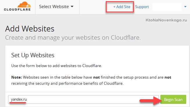 Добавление нового сайта в КлоудФлер