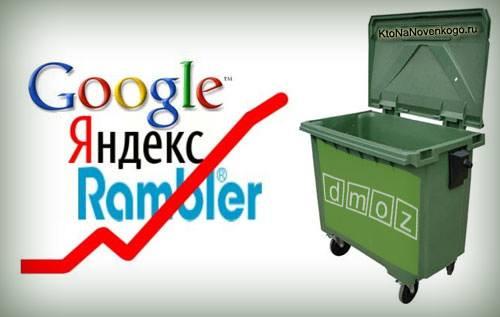 Яндекс каталог и DMOZ изображены иронично в форме контейнера для мусора