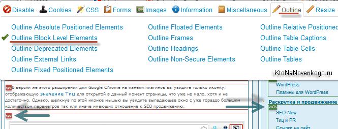 Возможности расширения ВебДевелопер при работе с версткой сайта