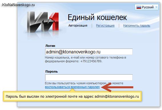 Ввод пароля на сайте сервиса