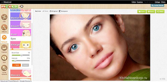 редактирование изображения онлайн в ретушь.net