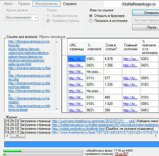 Результаты проверки текстов на плагиат