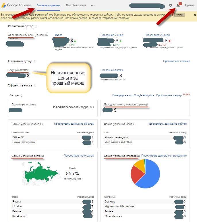 Главная страница Google AdSense