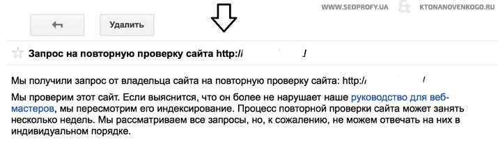 Промежуточный ответ Гугла на запрос о пересмотре сайта