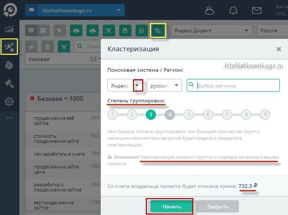 Кластеризация ядра в TopVizor