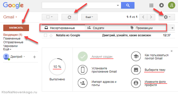 Что вы увидите после входа в почту Google Mail