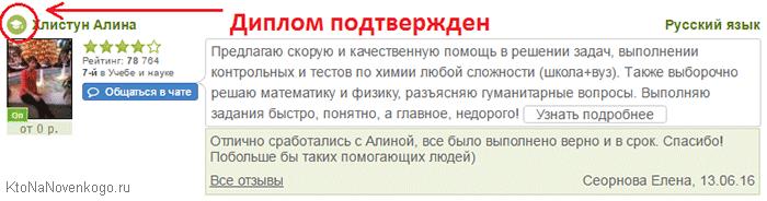 Пример визитки топового эксперта на сайте LiveExpert