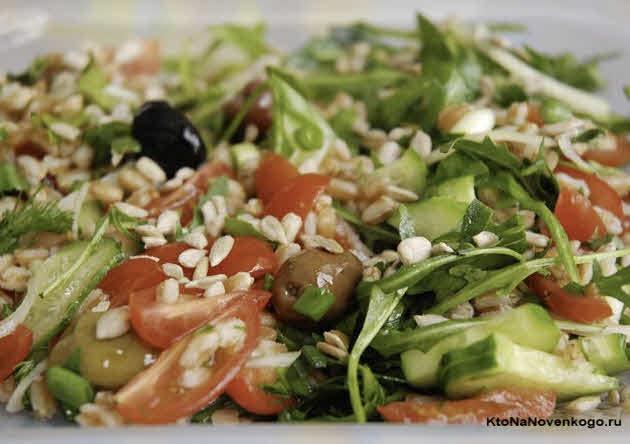 как готовить полбу — салат с овощами