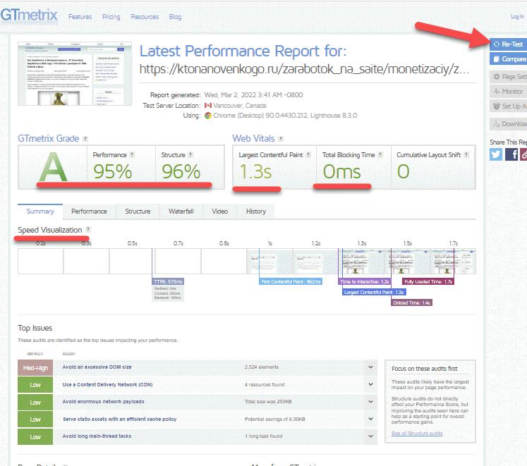 Как измерить скорость загрузки вашего сайта в онлайн сервисе GTmetrix
