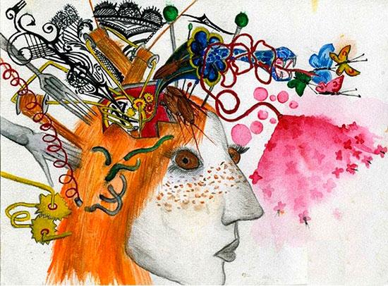 Карикатура на мысли в голове женщины