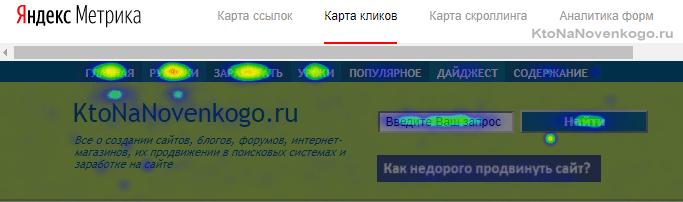 Как выглядит карта кликов Яндекс Метрики