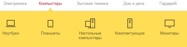 Категории товаров на Яндекс Маркет