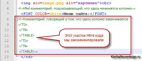 Закомментированные фрагменты Html кода