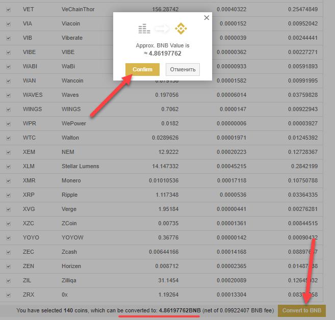 Конвертация всех остатков монет на бирже в BNB